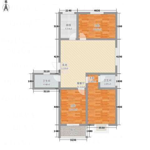 富通・香树湾3室1厅2卫1厨128.00㎡户型图