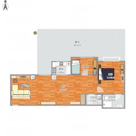 丽景苑2室1厅2卫1厨99.00㎡户型图