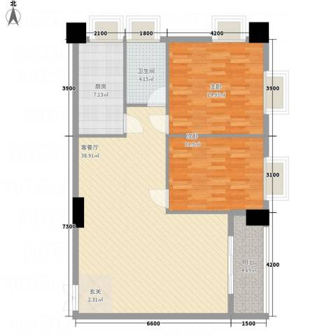 金鹿花园2室1厅1卫1厨113.00㎡户型图