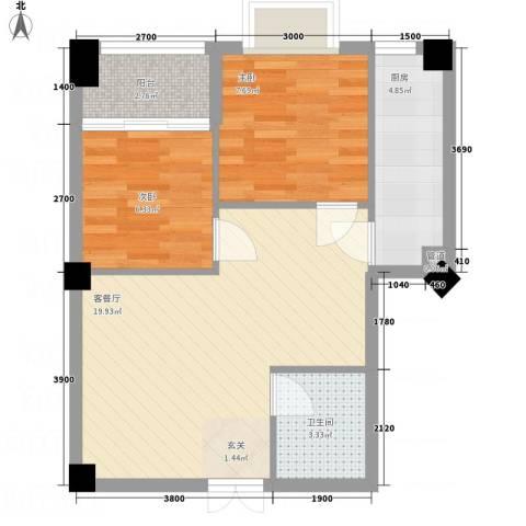 金鹿花园2室1厅1卫1厨65.00㎡户型图