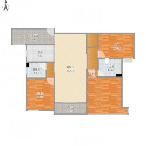 万科运河东1号3室1厅2卫1厨125.00㎡户型图