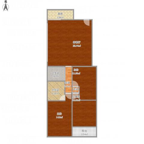 御华苑3室1厅2卫1厨122.00㎡户型图