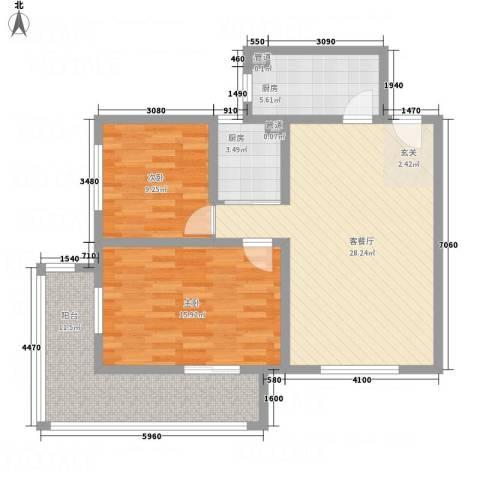 一等海2室1厅0卫2厨107.00㎡户型图