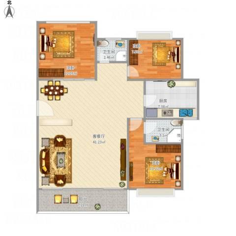 华林绿景花园3室1厅2卫1厨122.00㎡户型图