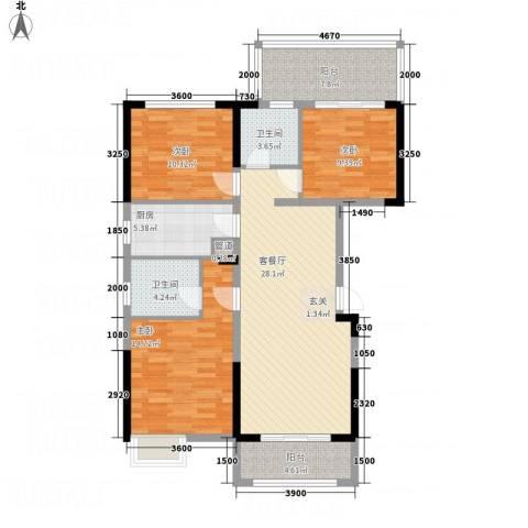 惠民怡家3室1厅2卫1厨127.00㎡户型图
