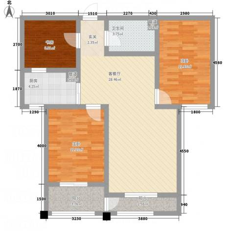 署西嘉园3室1厅1卫1厨107.00㎡户型图