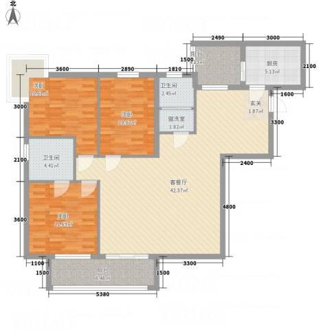 翰林尚城3室2厅2卫1厨111.78㎡户型图