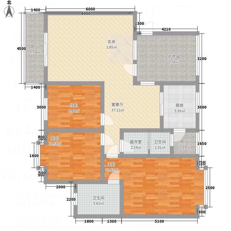 江畔首府133.00㎡B户型3室2厅2卫1厨