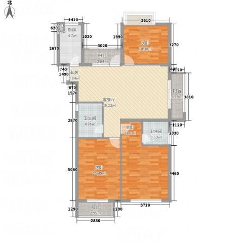 清江人家3室1厅2卫1厨135.00㎡户型图