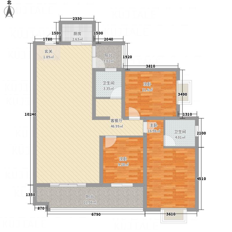 天水豪廷123.30㎡AB3户型3室2厅2卫
