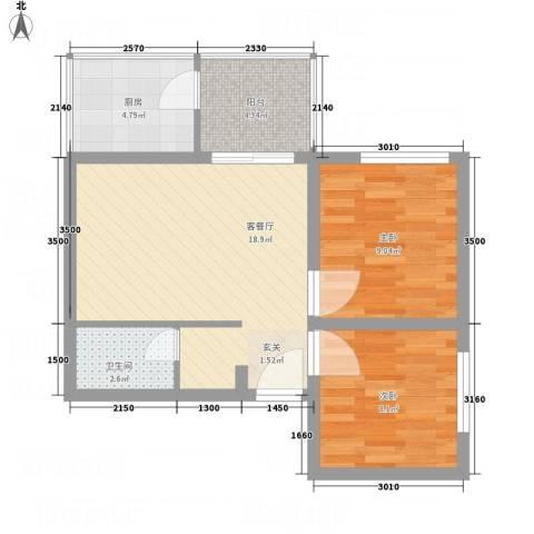 曲江雁唐府邸2室1厅1卫1厨55.06㎡户型图