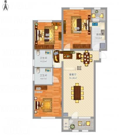 龙湖·香醍溪岸洋房3室1厅2卫1厨128.00㎡户型图