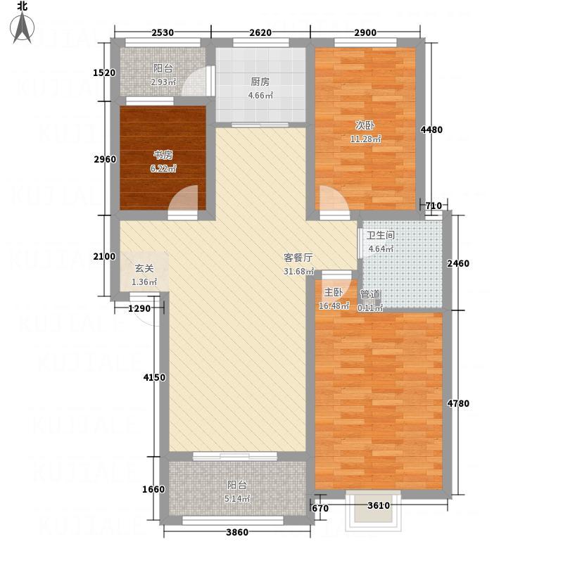 长运家园北苑14.10㎡E户型3室2厅1卫1厨