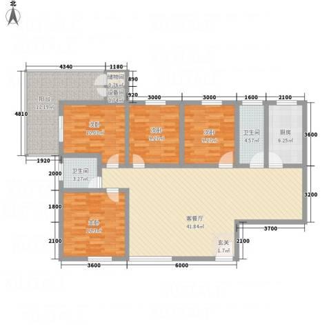曲江雁唐府邸4室1厅2卫1厨126.33㎡户型图