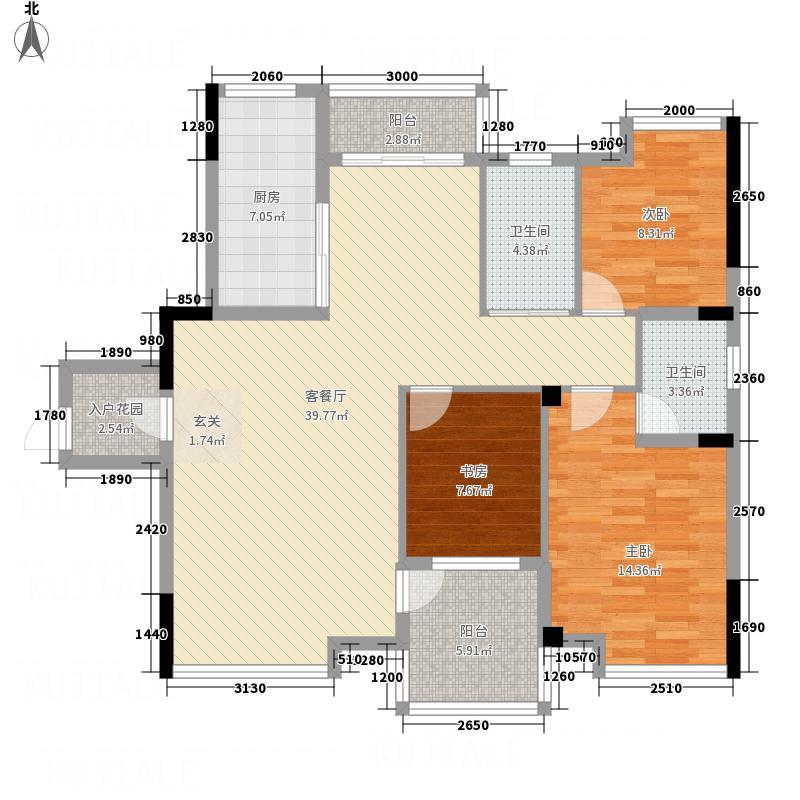 五福庄园12.87㎡322-12987_副本户型3室2厅2卫1厨