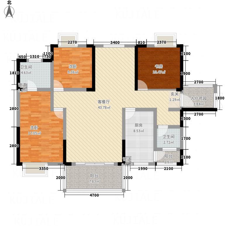 水木清华22132.81㎡2栋2单元B3室户型3室2厅2卫1厨
