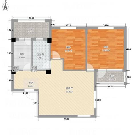 渔城新居2室1厅1卫1厨101.00㎡户型图