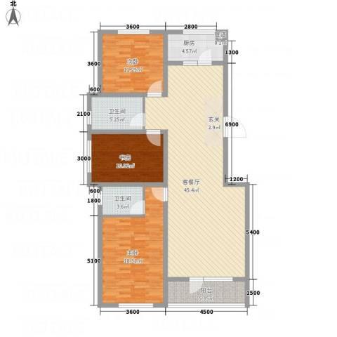 �秀城3室1厅2卫1厨104.79㎡户型图