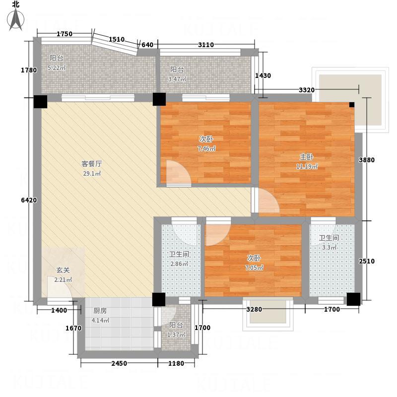 昌泰盛世家园13.54㎡M户型3室2厅2卫1厨