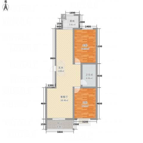 �秀城2室1厅1卫1厨113.00㎡户型图