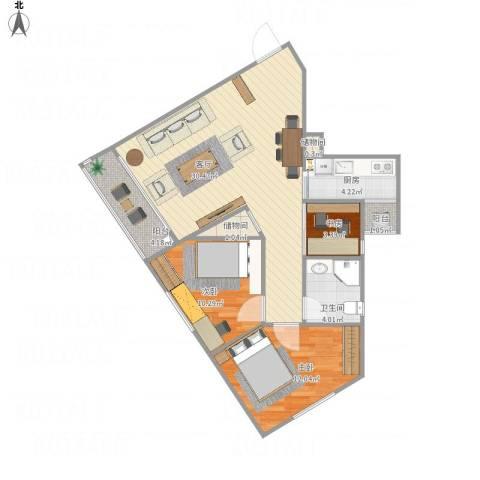 西湖花园7247463室1厅1卫1厨89.00㎡户型图