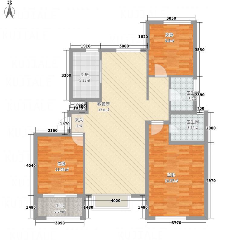荣盛・香堤荣府131.56㎡11A户型3室2厅2卫1厨