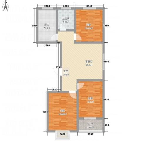 富通・香树湾3室1厅1卫1厨114.00㎡户型图