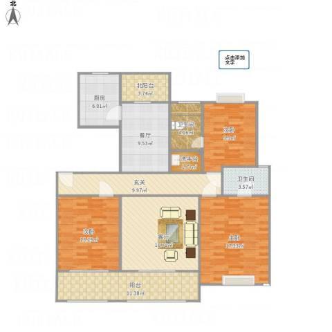 绿地悦城3室2厅2卫1厨146.00㎡户型图