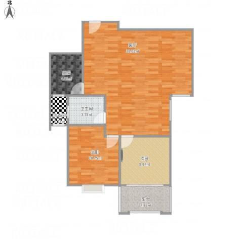 怡美家园二期2室1厅1卫1厨98.00㎡户型图