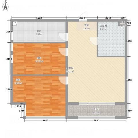 万成广场2室1厅1卫1厨128.00㎡户型图