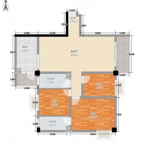 帝缘花园3室1厅2卫1厨143.00㎡户型图