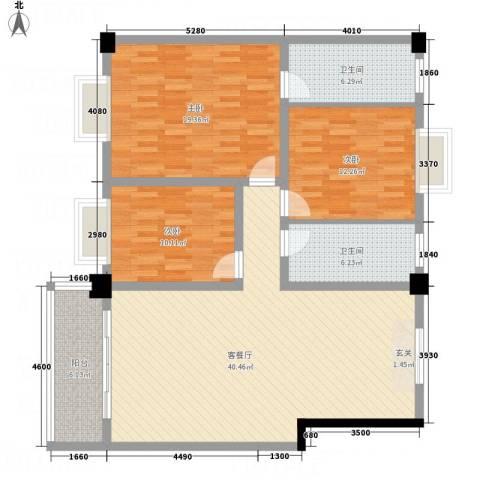 帝缘花园3室1厅2卫0厨142.00㎡户型图