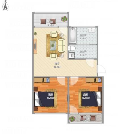 化纤小区2室1厅2卫1厨81.00㎡户型图