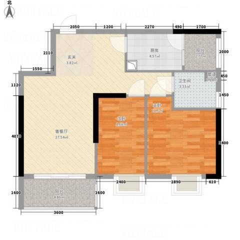 金世纪嘉园2室1厅1卫1厨86.00㎡户型图