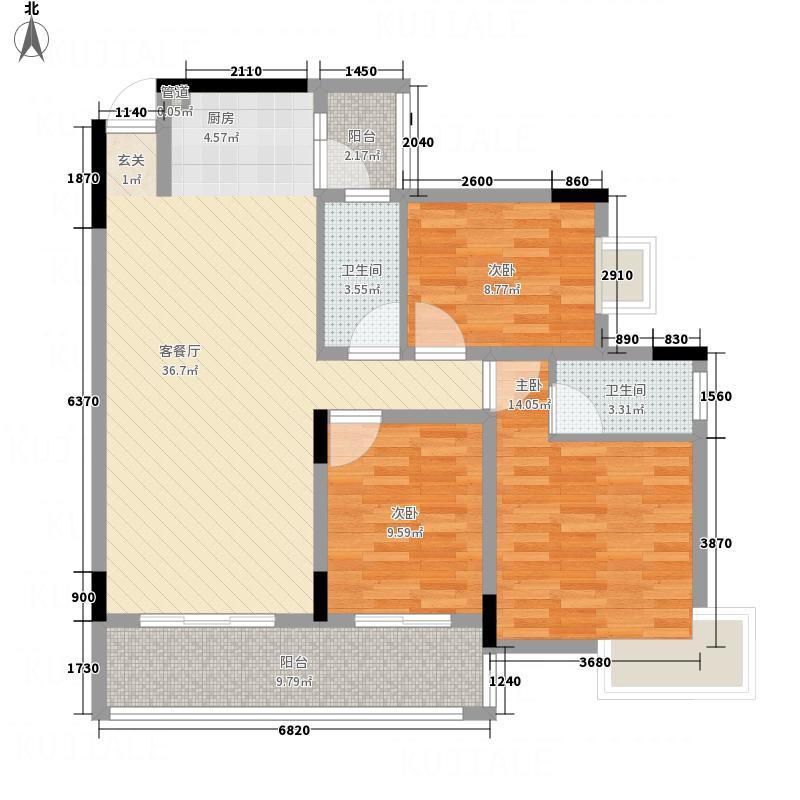 朗晴海岸11.00㎡7幢07单元户型3室2厅2卫1厨