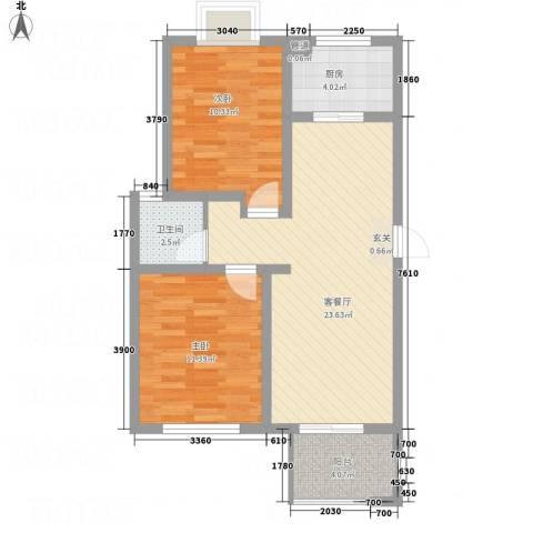 金色阳光城2室1厅1卫1厨81.00㎡户型图