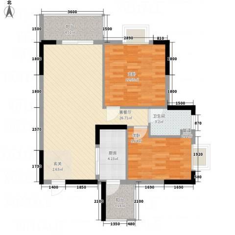 金世纪嘉园2室1厅1卫1厨85.00㎡户型图