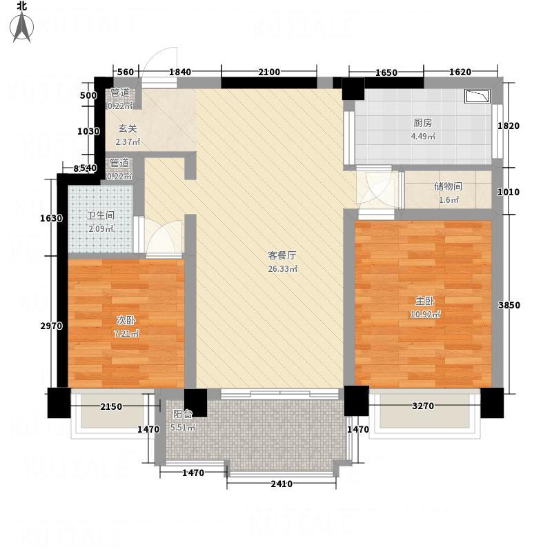 桂鑫园86.40㎡G3-2户型2室2厅1卫1厨