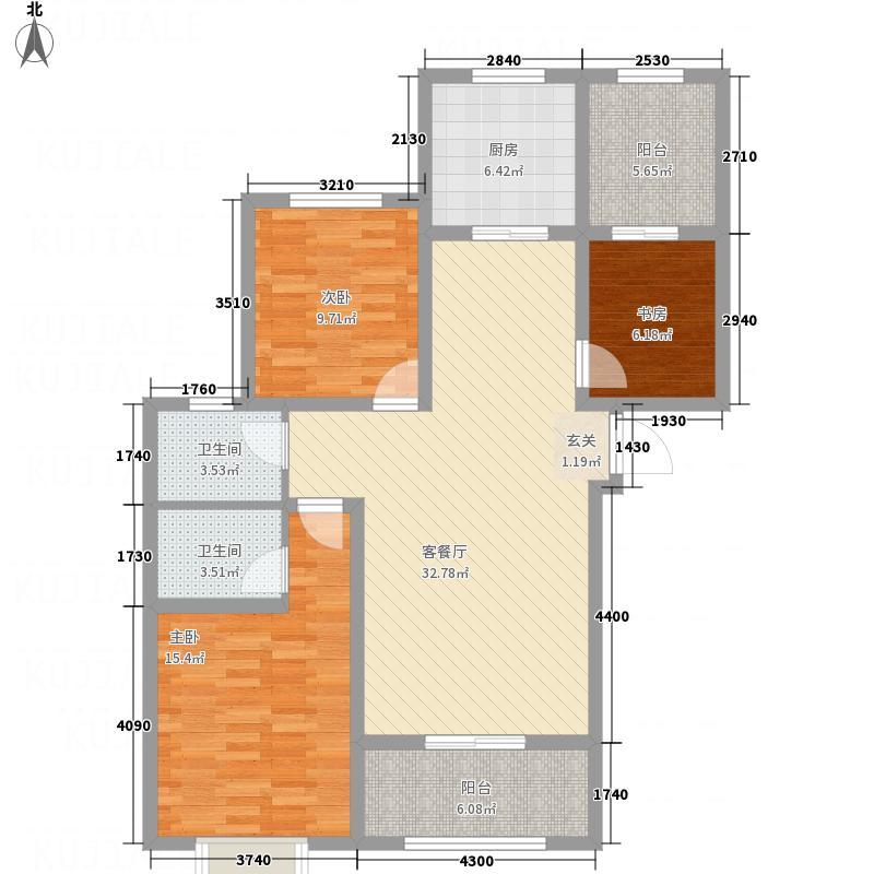 启迪国际城・仕家121.18㎡户型3室2厅2卫1厨