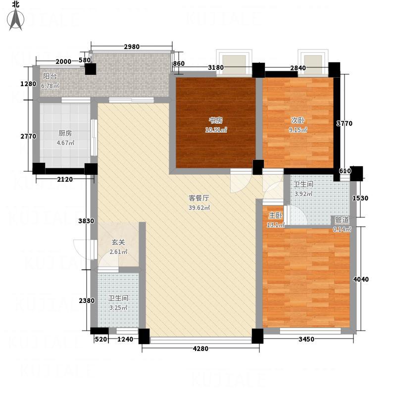 桂鑫园131.16㎡G4-6户型3室2厅2卫1厨