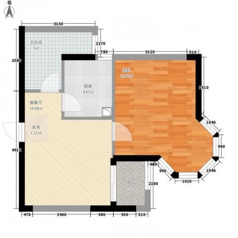 世纪锦绣1室1厅1卫1厨61.00㎡户型图