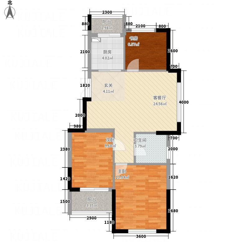 华辰玉海豪庭88.20㎡玉海豪庭B户型3室2厅1卫1厨