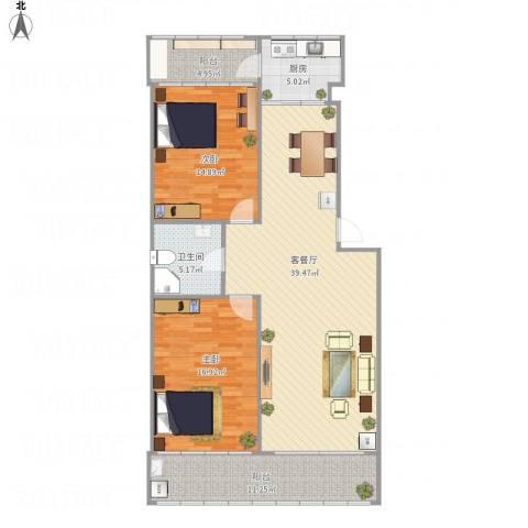 济南绿园小区2室1厅1卫1厨131.00㎡户型图