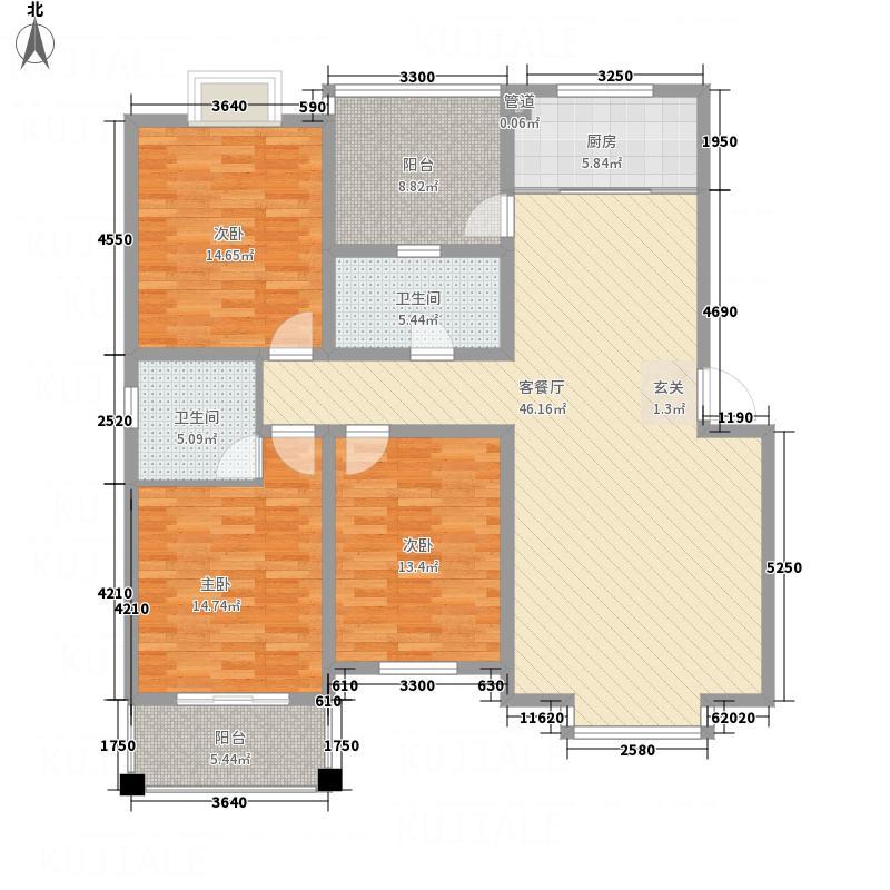 金鑫・锦绣花城D5户型3室2厅2卫1厨