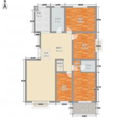 香港花园4室1厅2卫1厨166.00㎡户型图