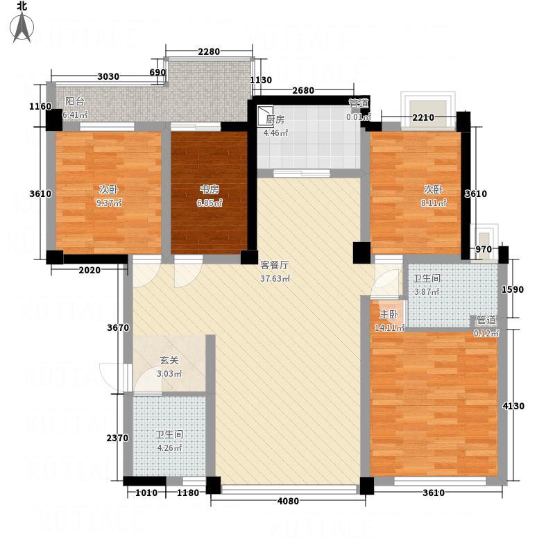 桂鑫园137.30㎡G4-8户型4室2厅2卫1厨