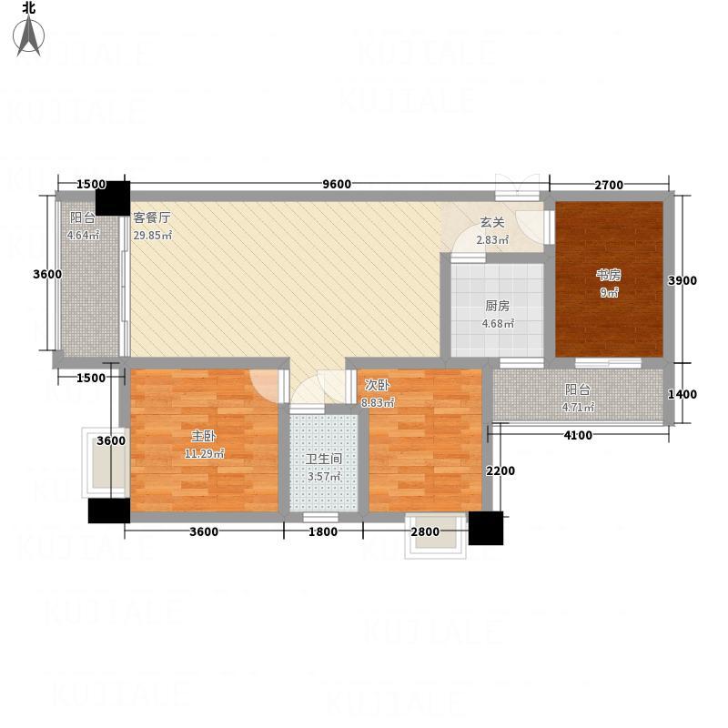 黎筑金色城邦111.35㎡A1-E户型3室2厅1卫