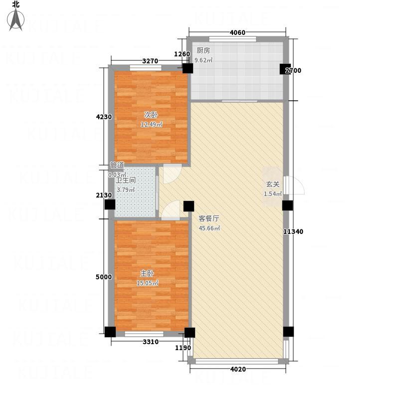 万恒・文博馨苑15.45㎡10545户型2室2厅1卫1厨
