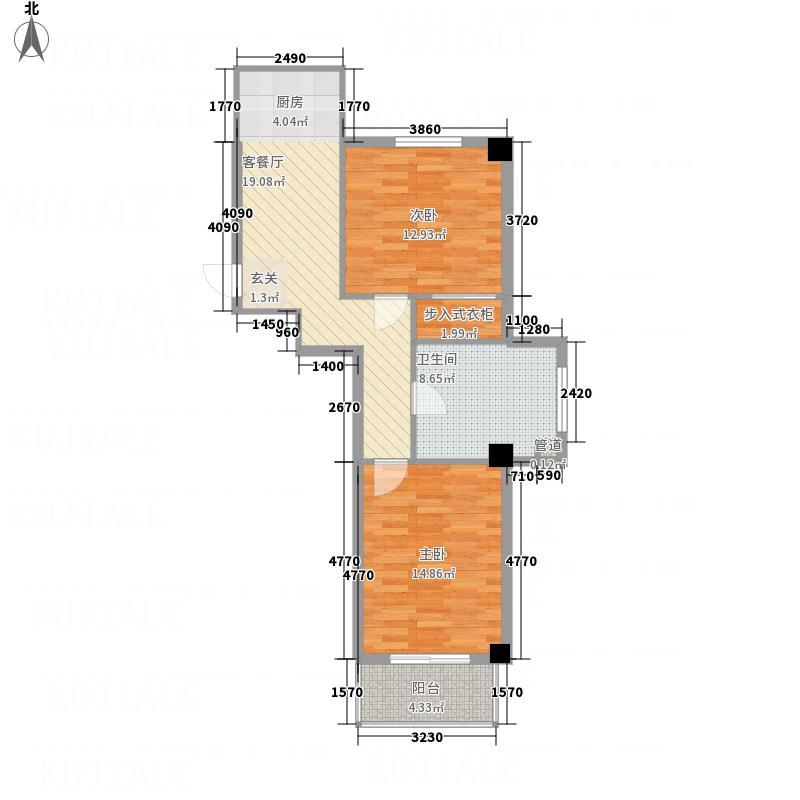 龙泉佳园74.51㎡户型2室1厅1卫
