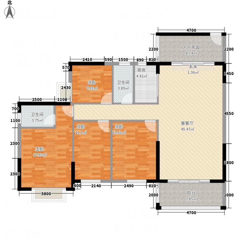 华城国际674157.44㎡6、7栋04户型4室2厅2卫1厨